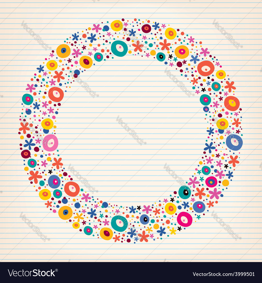 Flowers nature lined note book paper circle frame vector | Price: 1 Credit (USD $1)