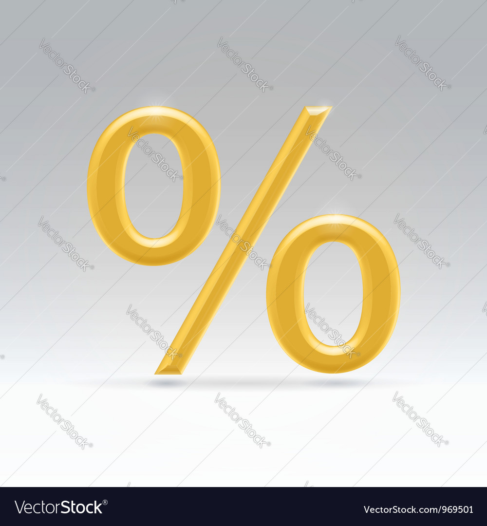Golden percent symbol vector | Price: 1 Credit (USD $1)