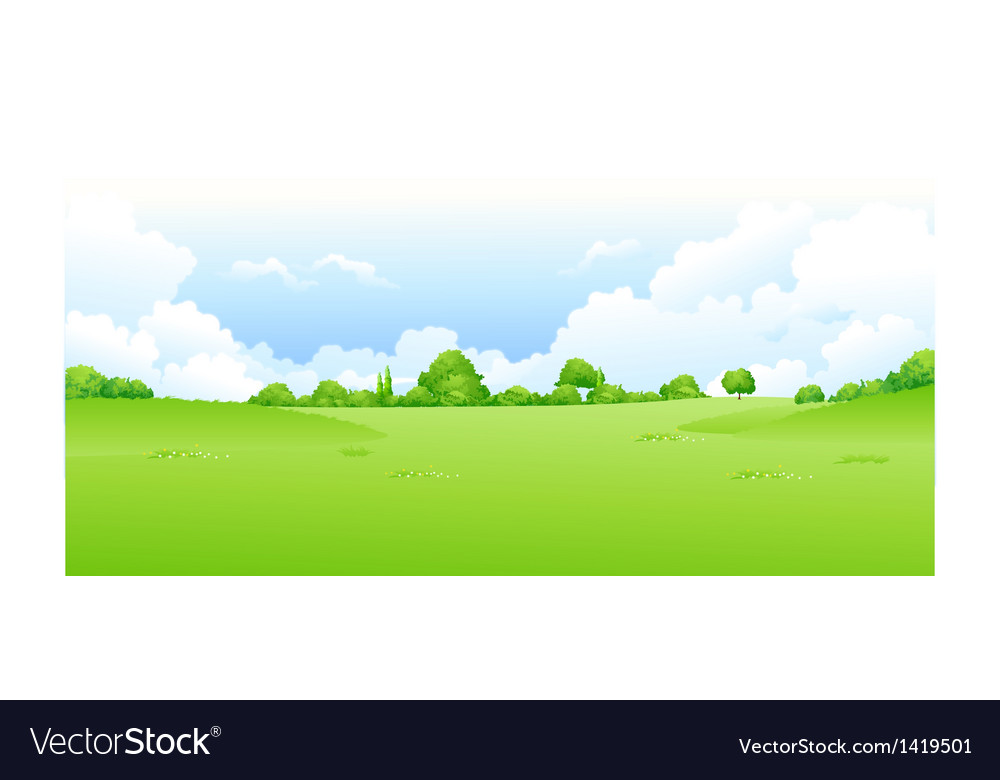 Green landscape blue sky vector | Price: 1 Credit (USD $1)