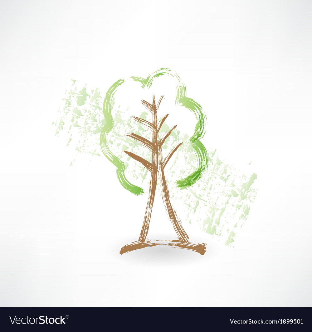 Green tree grunge icon vector | Price: 1 Credit (USD $1)