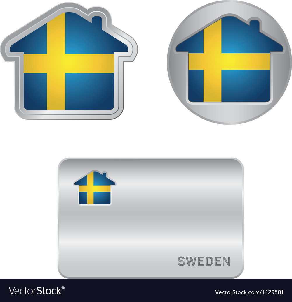 Home icon on the sweden flag vector | Price: 1 Credit (USD $1)