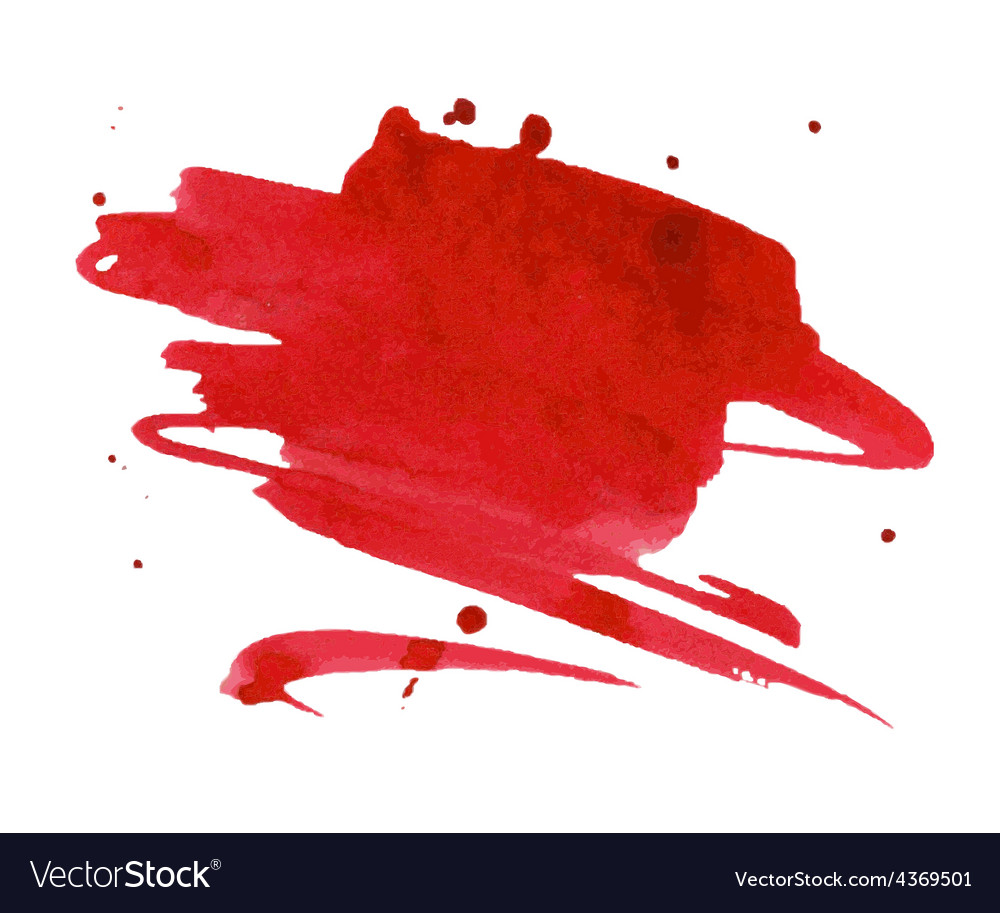 Red watercolor stain with aquarelle paint blotch vector | Price: 1 Credit (USD $1)