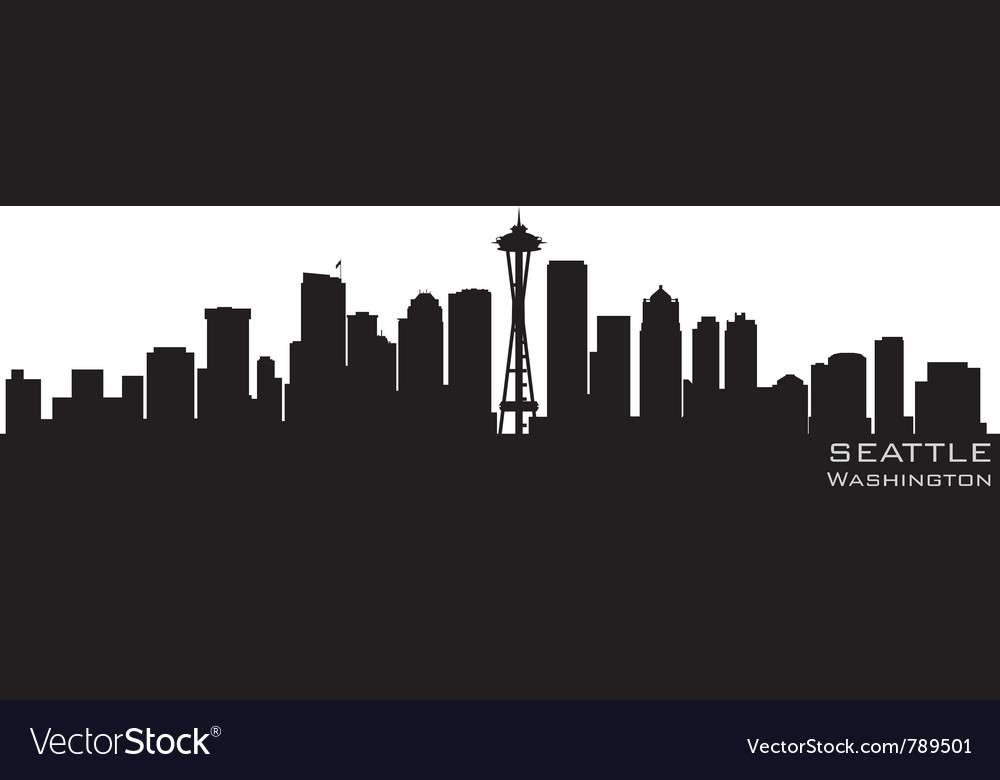 Seattle washington skyline detailed silhouette vector