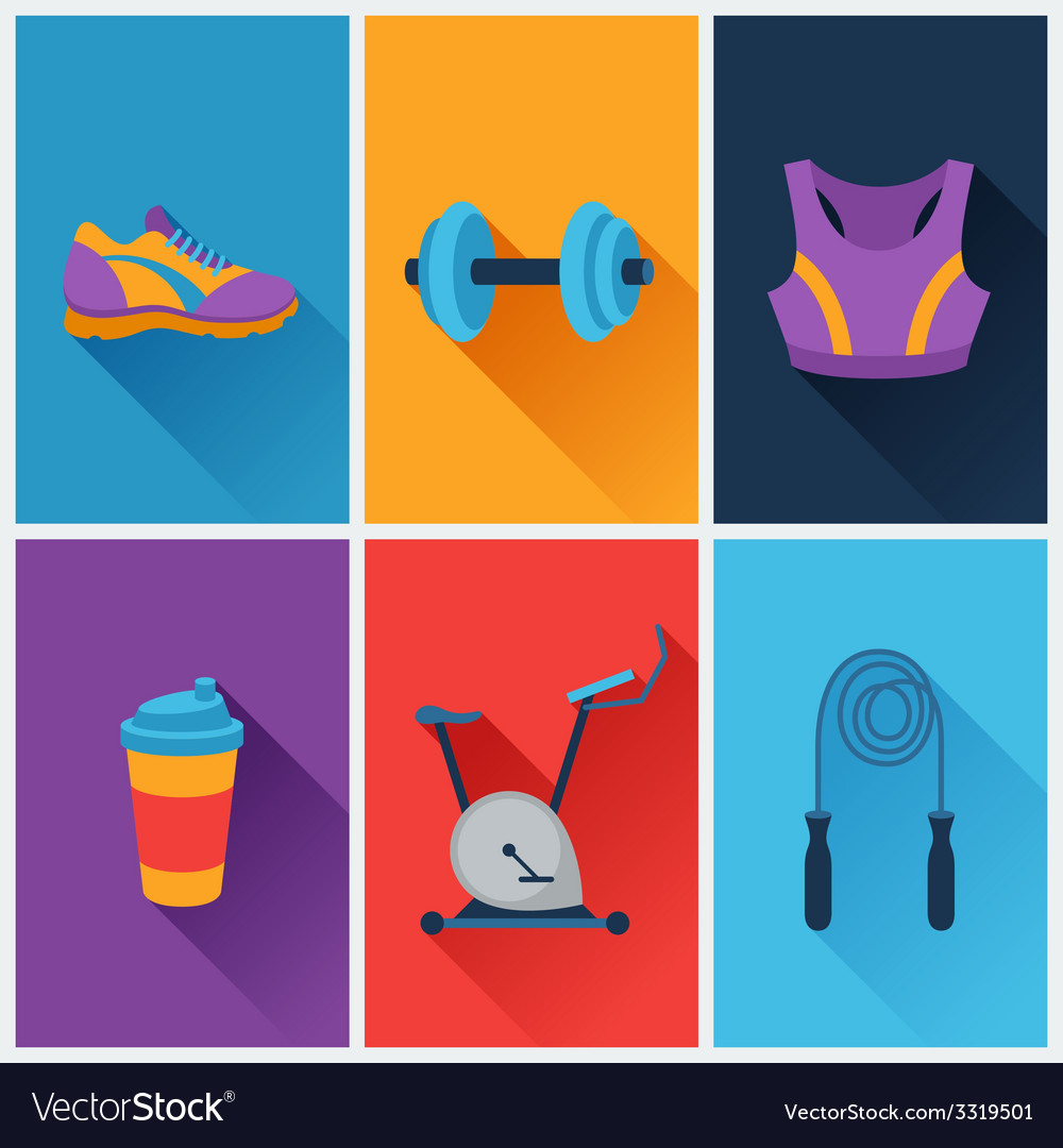 Sports and fitness icons set in flat style vector | Price: 1 Credit (USD $1)