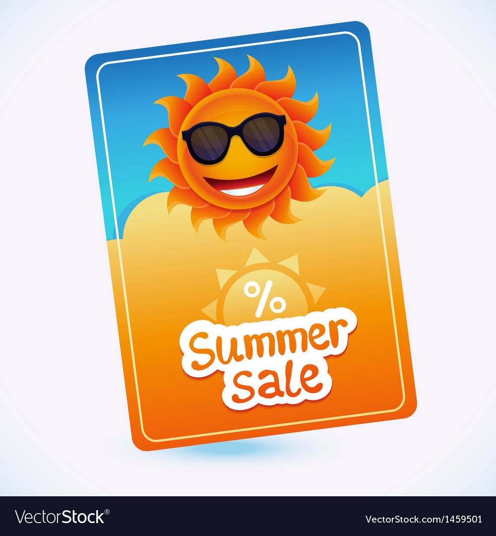 Summer sale coupon - sun and discount vector | Price: 1 Credit (USD $1)