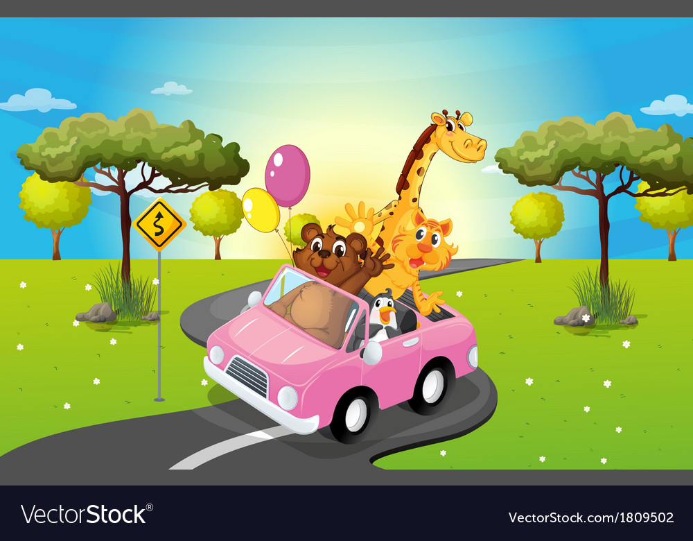 A pink car travelling with animals vector | Price: 1 Credit (USD $1)