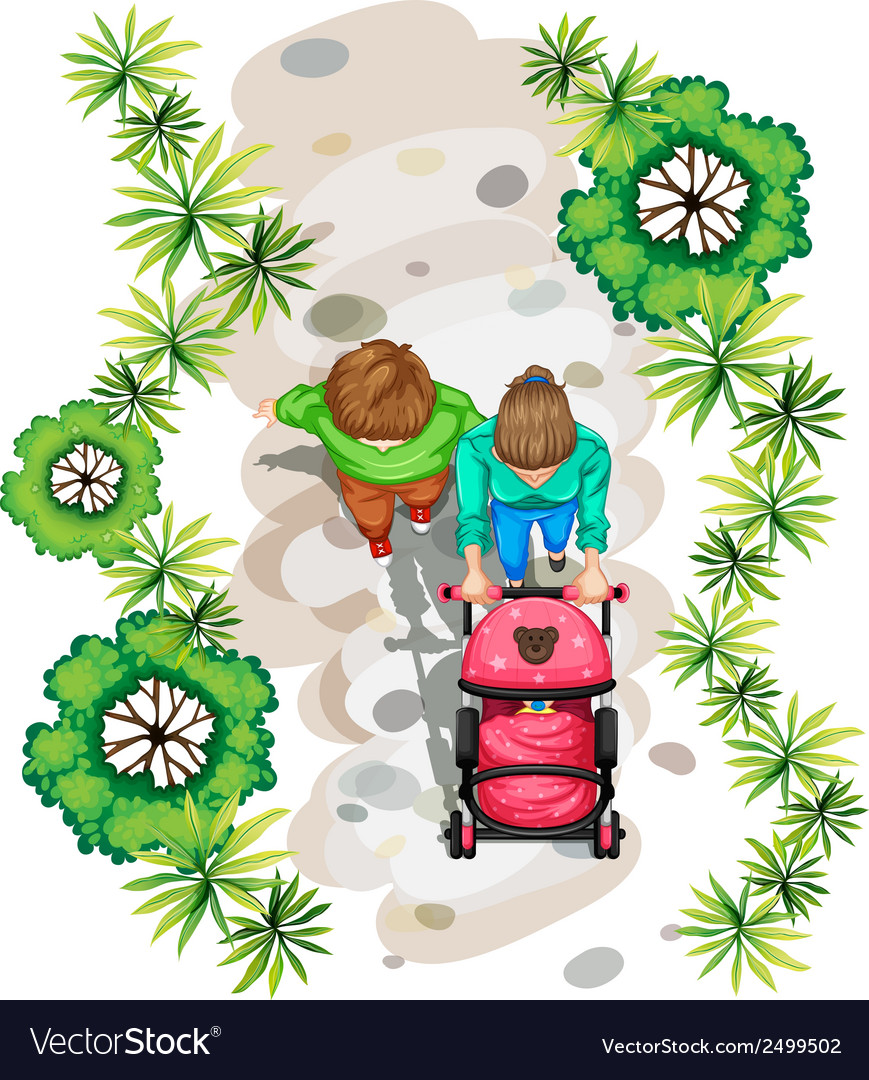 A topview of a family strolling at the park vector | Price: 1 Credit (USD $1)