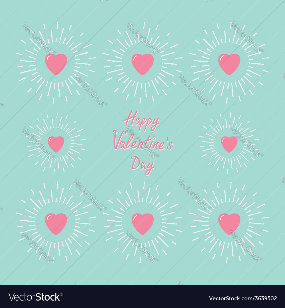 Card with pink shining hearts and word love flat vector   Price: 1 Credit (USD $1)