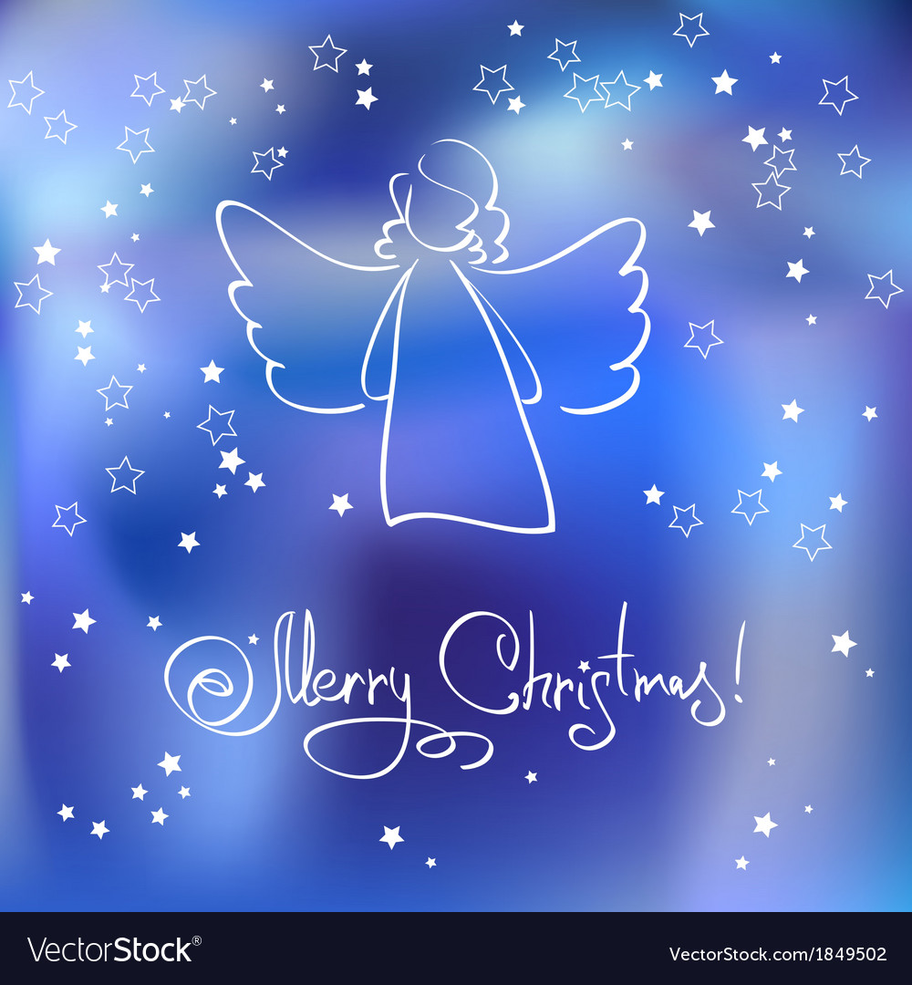 Christmas card with angel vector | Price: 1 Credit (USD $1)