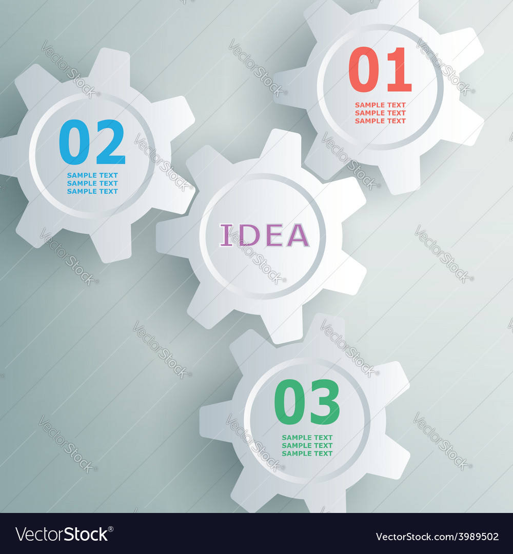 Color gears infographics number options banner vector | Price: 1 Credit (USD $1)
