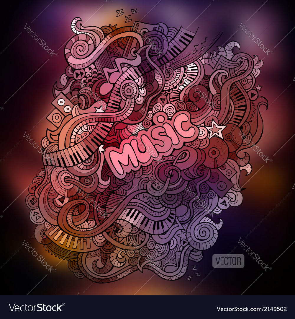 Doodles musical art paint background vector | Price: 1 Credit (USD $1)