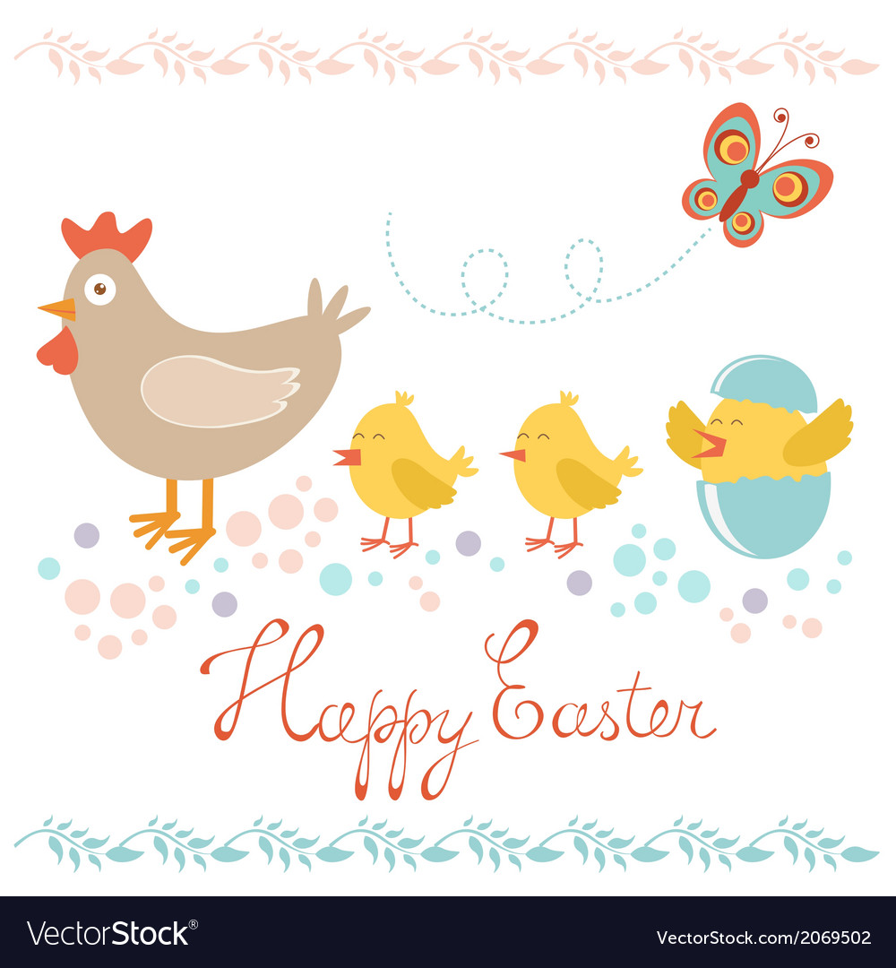 Easter card with chicken and chicks vector | Price: 1 Credit (USD $1)