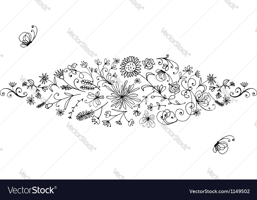 Floral frame for your design vector | Price: 1 Credit (USD $1)