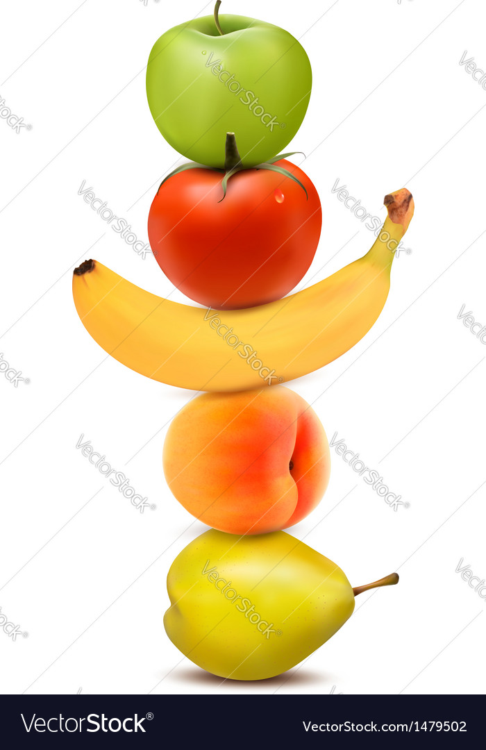 Group of fresh fruit dieting concept vector | Price: 1 Credit (USD $1)