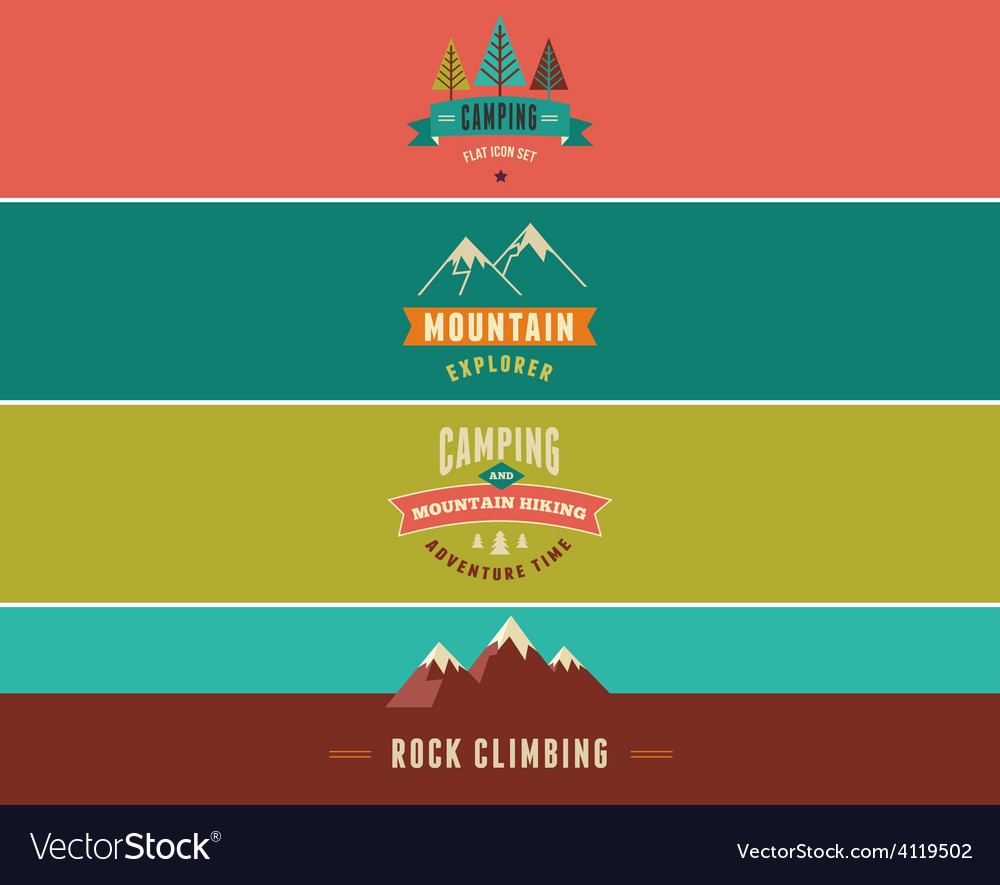 Hiking camp banners backgrounds and elements vector | Price: 1 Credit (USD $1)