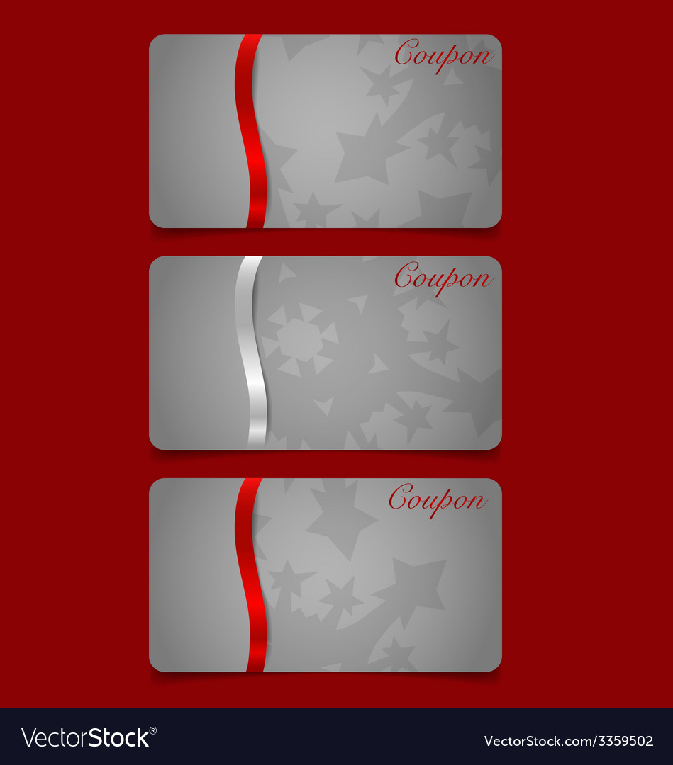 Holiday gift coupons with red ribbons vector | Price: 1 Credit (USD $1)