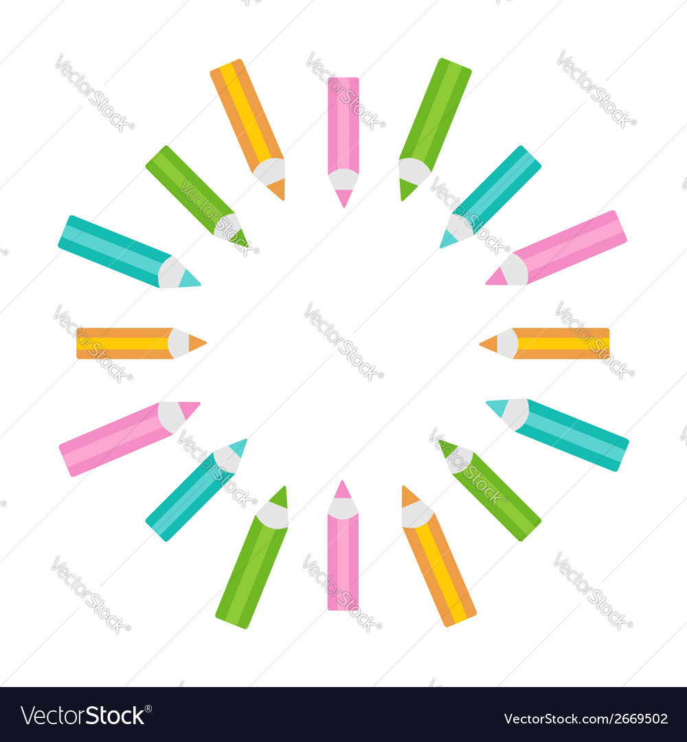Pencil round frame empty template isolated vector | Price: 1 Credit (USD $1)