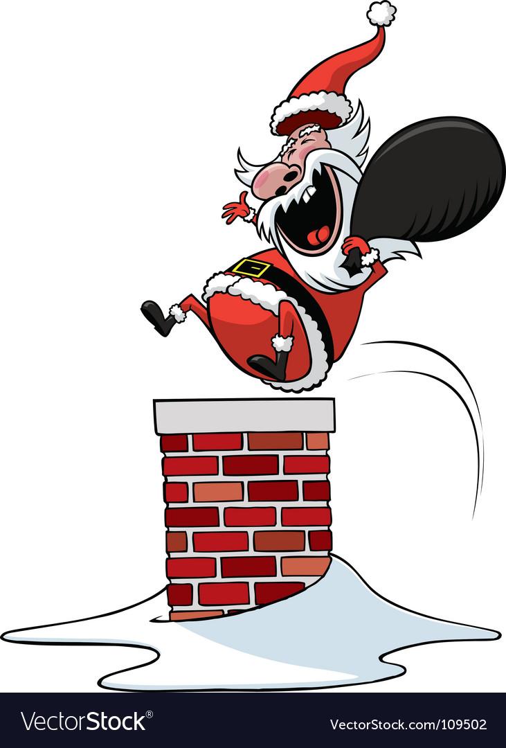 Santa down chimney vector | Price: 1 Credit (USD $1)
