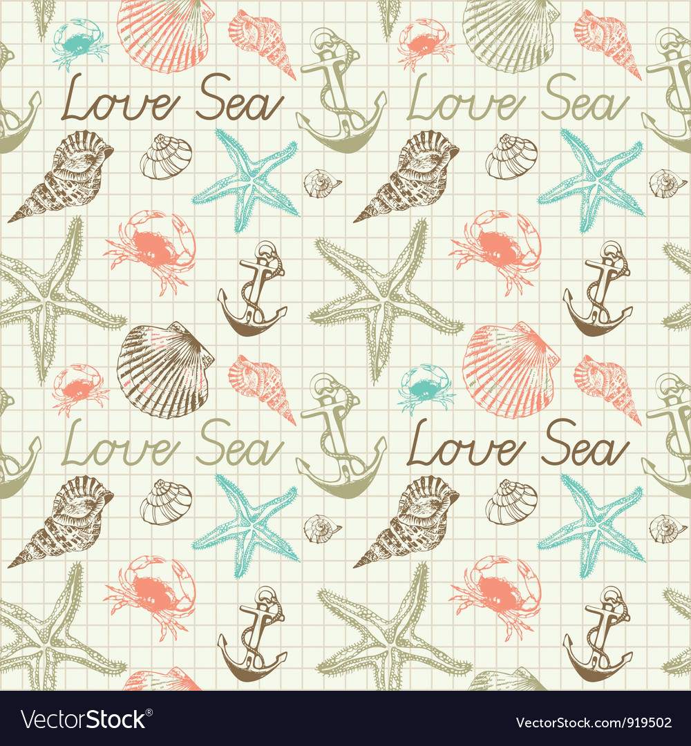 Seashells pattern background vector | Price: 1 Credit (USD $1)
