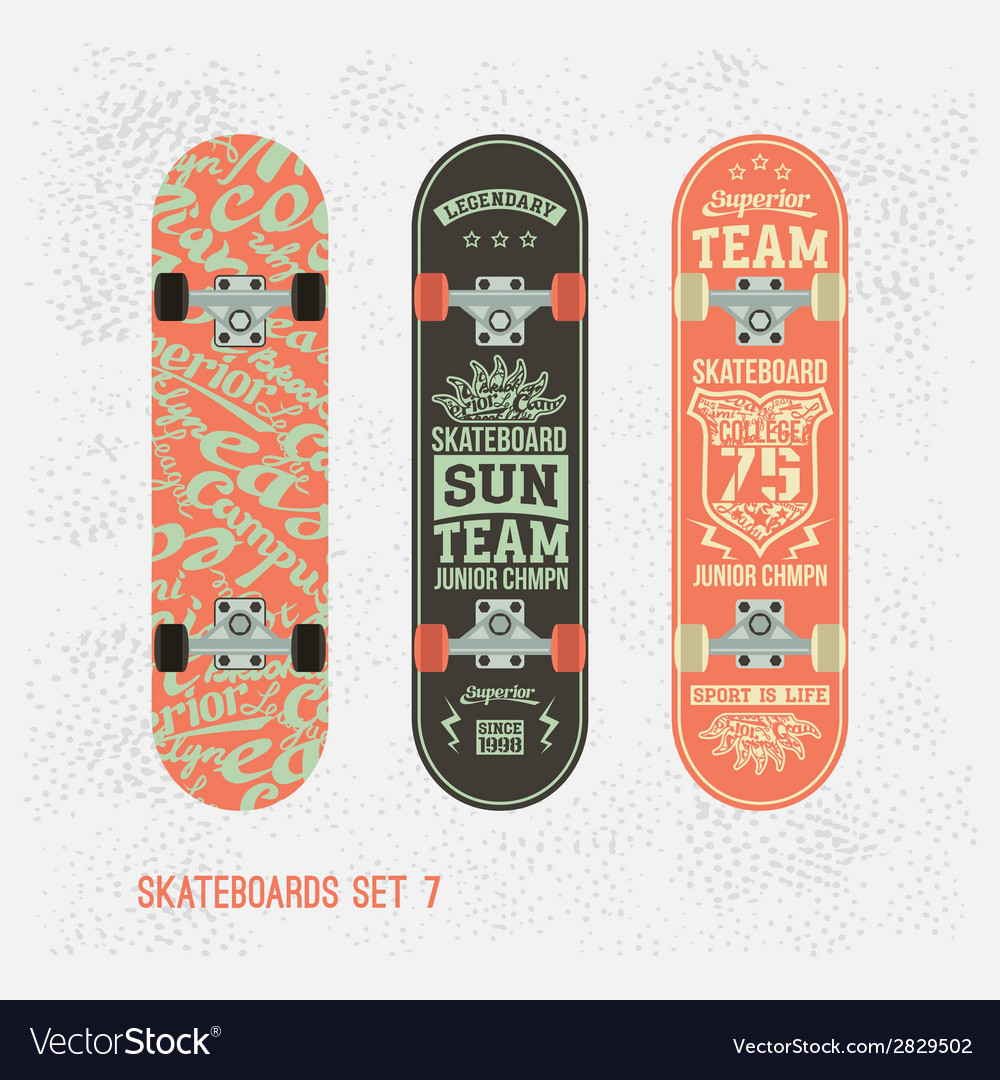 Set of retro vintage badges on a skateboard vector | Price: 1 Credit (USD $1)