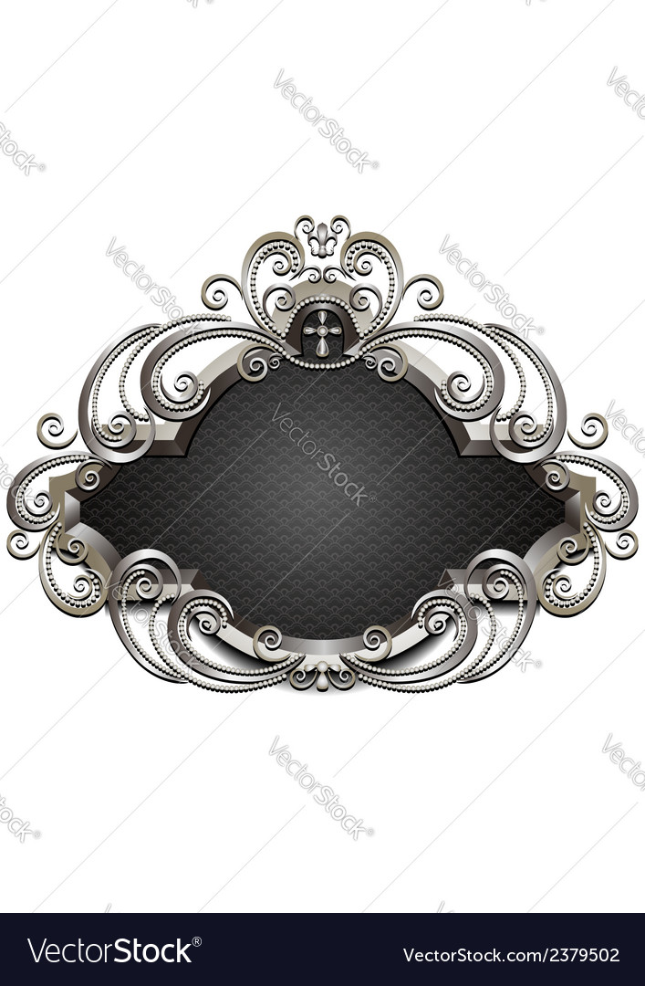 Silver frame with heraldry and decor of beads and vector | Price: 1 Credit (USD $1)