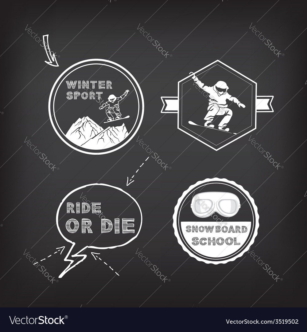 Snowboarding winter sport icon set vector | Price: 1 Credit (USD $1)
