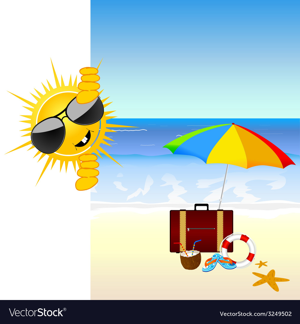 Sun and the beach color vector | Price: 1 Credit (USD $1)