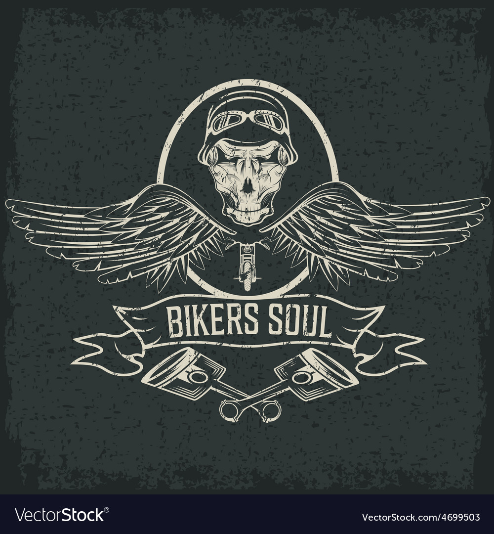 Biker theme label with pistons and skulls with vector | Price: 1 Credit (USD $1)