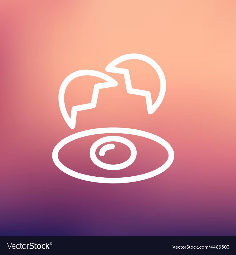 Broken egg with yolk thin line icon vector | Price: 1 Credit (USD $1)