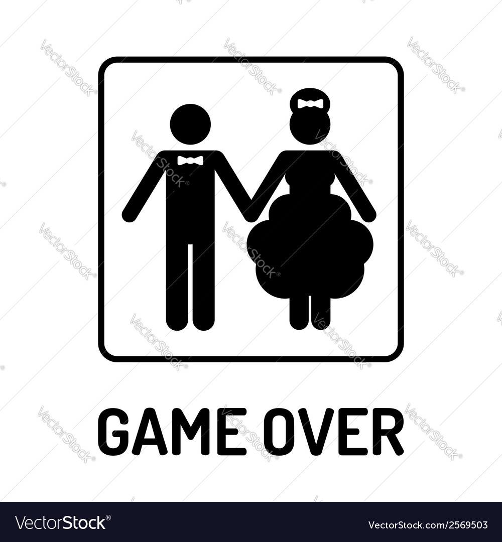 Cartoon funny wedding symbol - game over vector | Price: 1 Credit (USD $1)