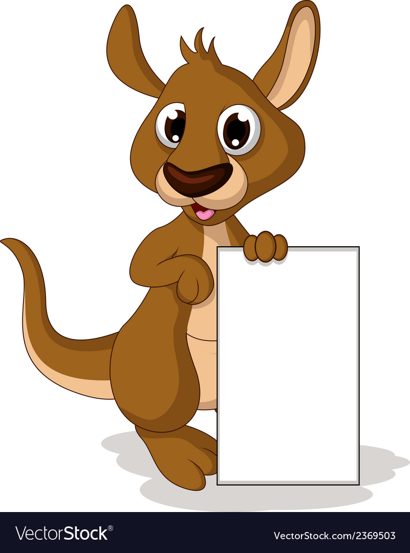 Cute baby kangaroo cartoon holding blank sign vector | Price: 1 Credit (USD $1)