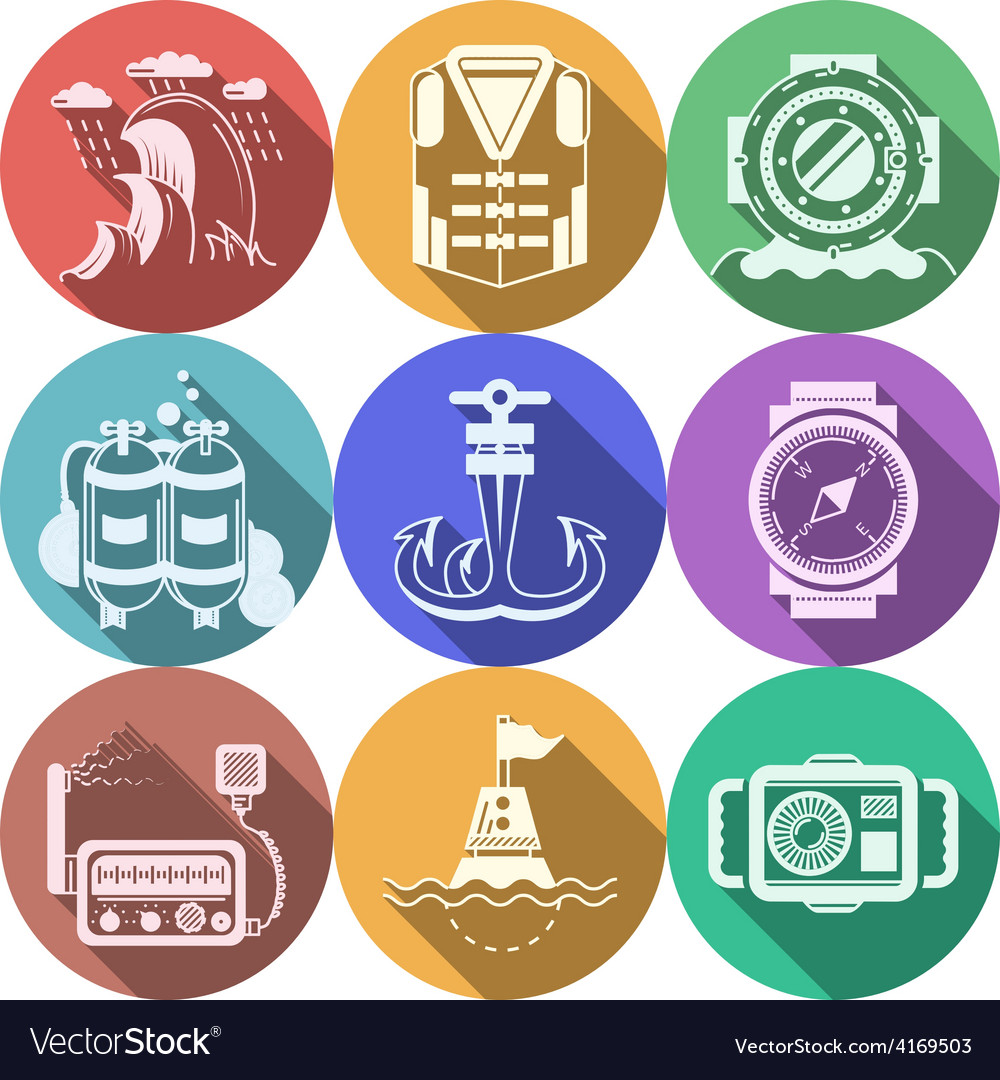 Diving flat color icons collection vector | Price: 1 Credit (USD $1)
