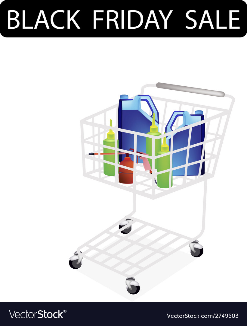 Engine oil packaging in black friday shopping cart vector | Price: 1 Credit (USD $1)