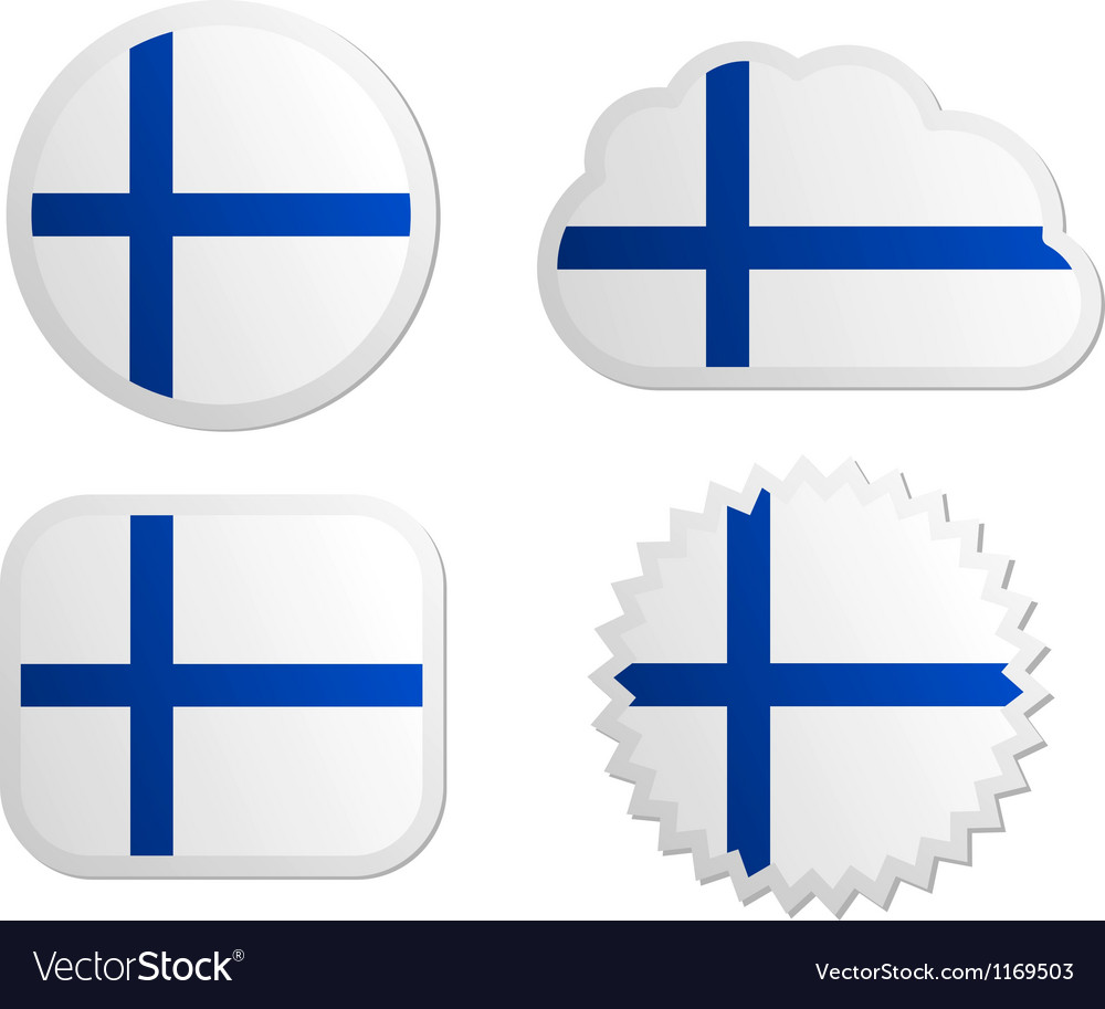 Finland flag labels vector | Price: 1 Credit (USD $1)