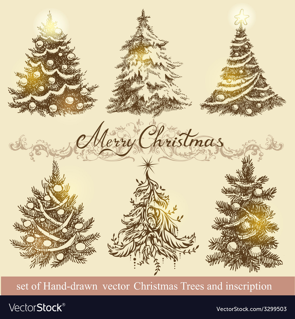 Golden christmas trees vector | Price: 1 Credit (USD $1)