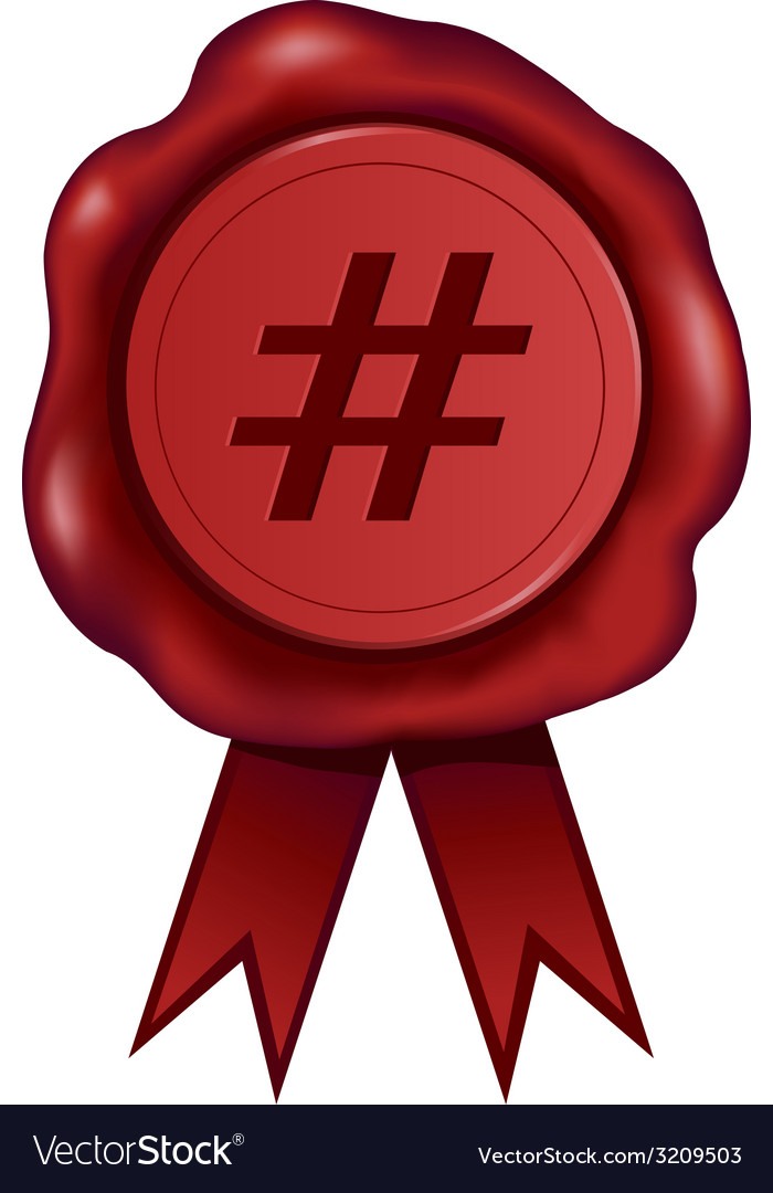Hash tag wax seal vector | Price: 1 Credit (USD $1)