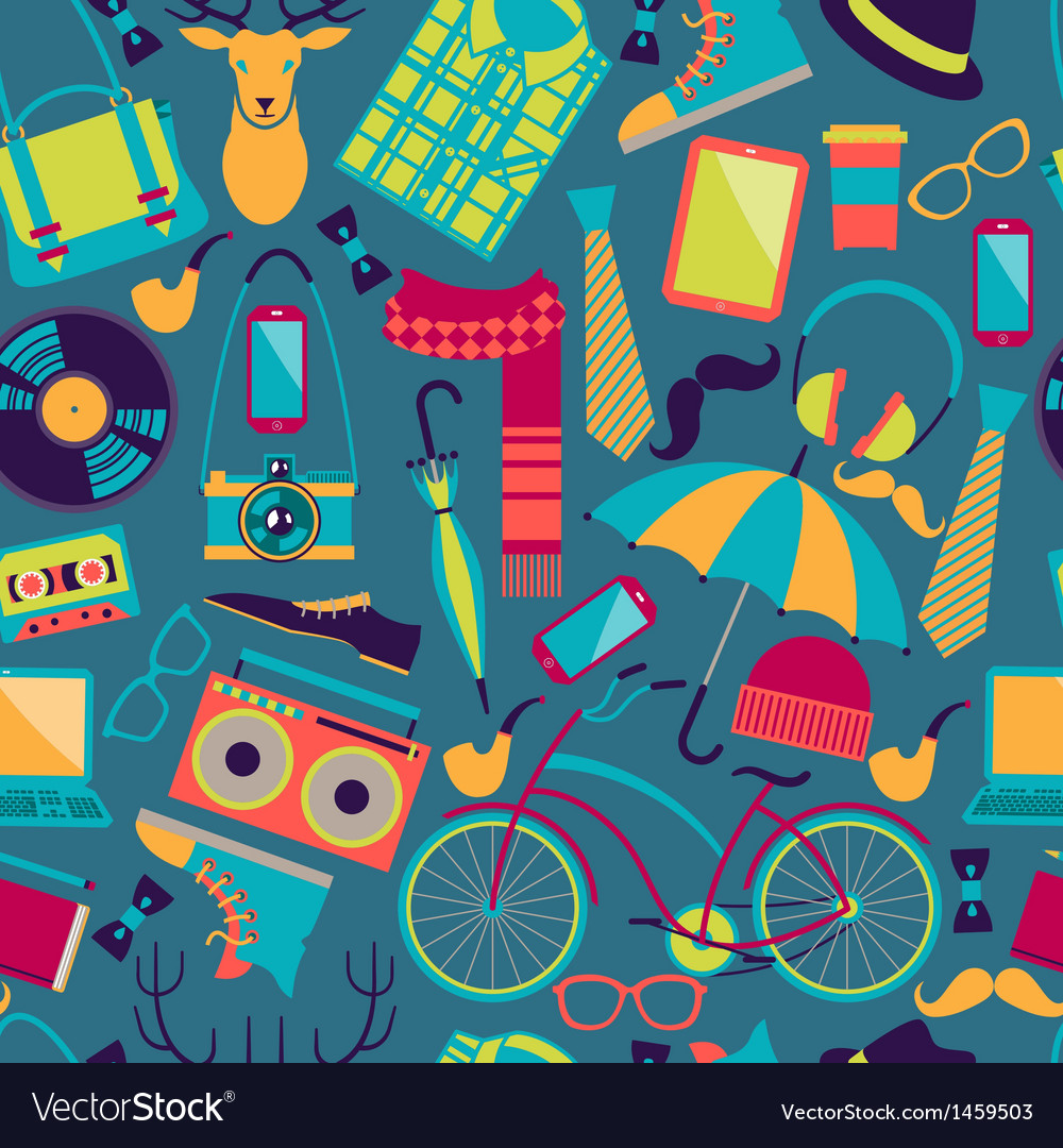 Hipster style seamless pattern vector | Price: 3 Credit (USD $3)