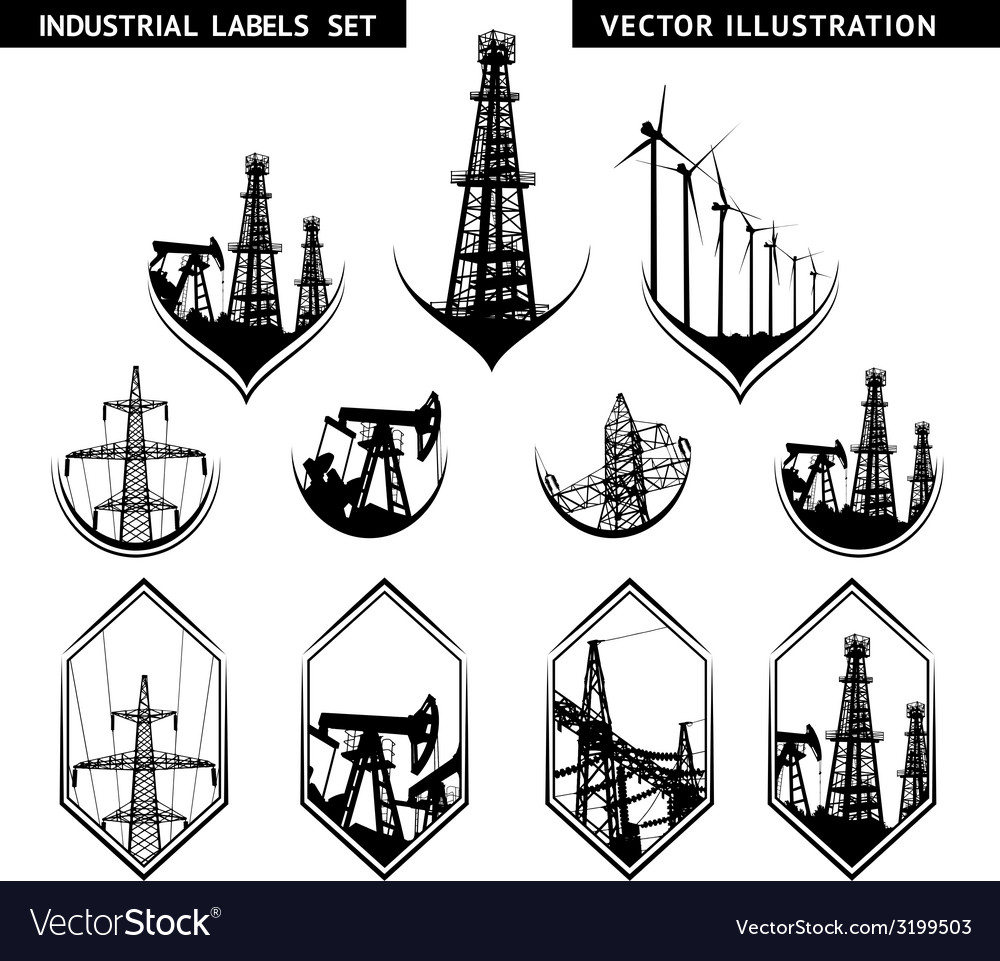 Industrial lable set vector | Price: 1 Credit (USD $1)