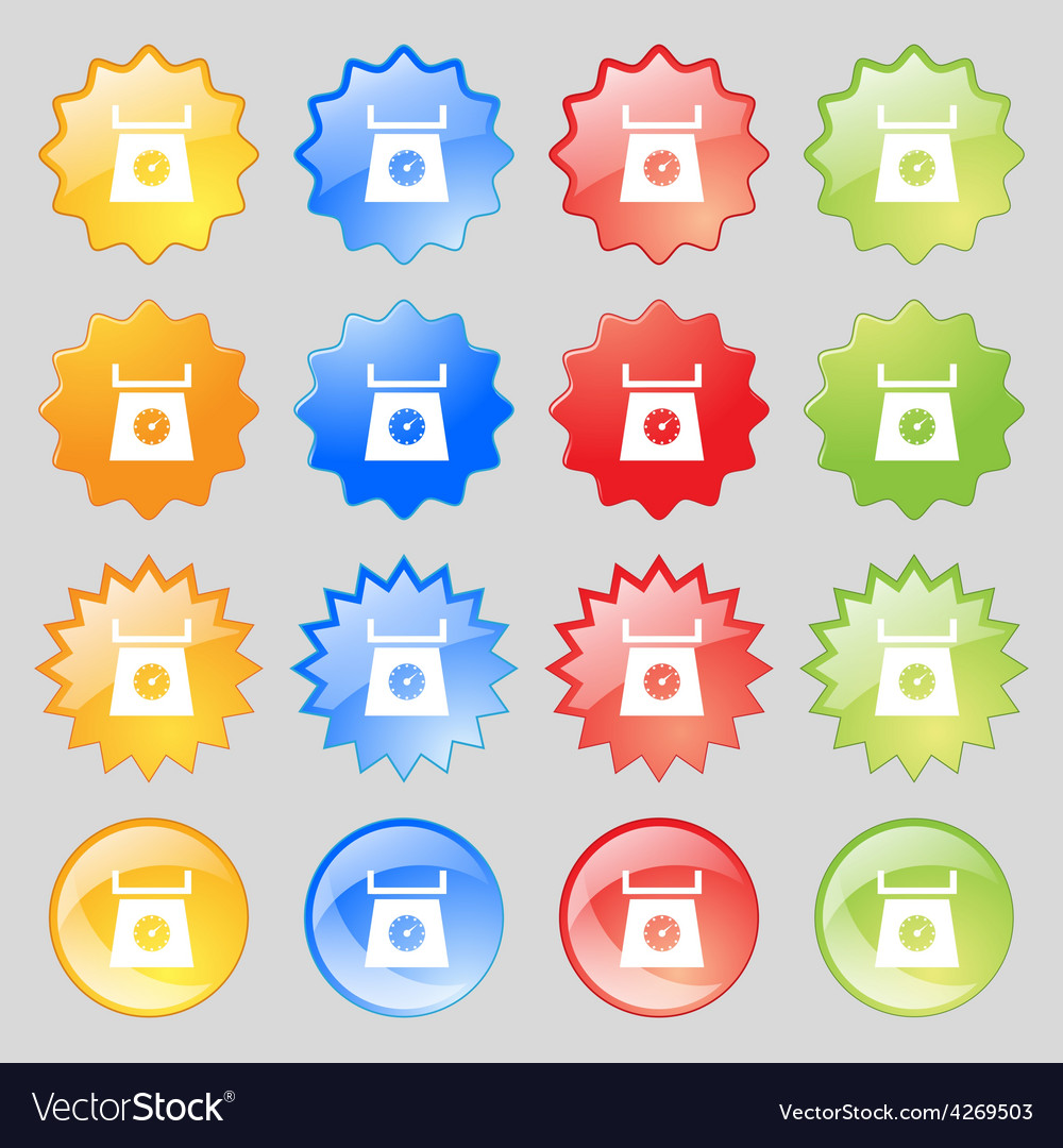 Kitchen scales icon sign big set of 16 colorful vector | Price: 1 Credit (USD $1)
