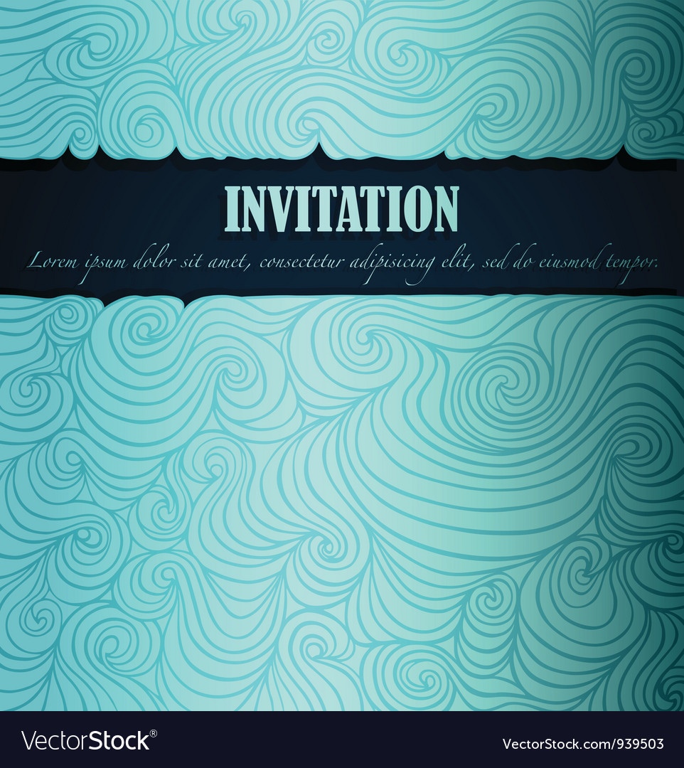 Sea theme invitation vector | Price: 1 Credit (USD $1)
