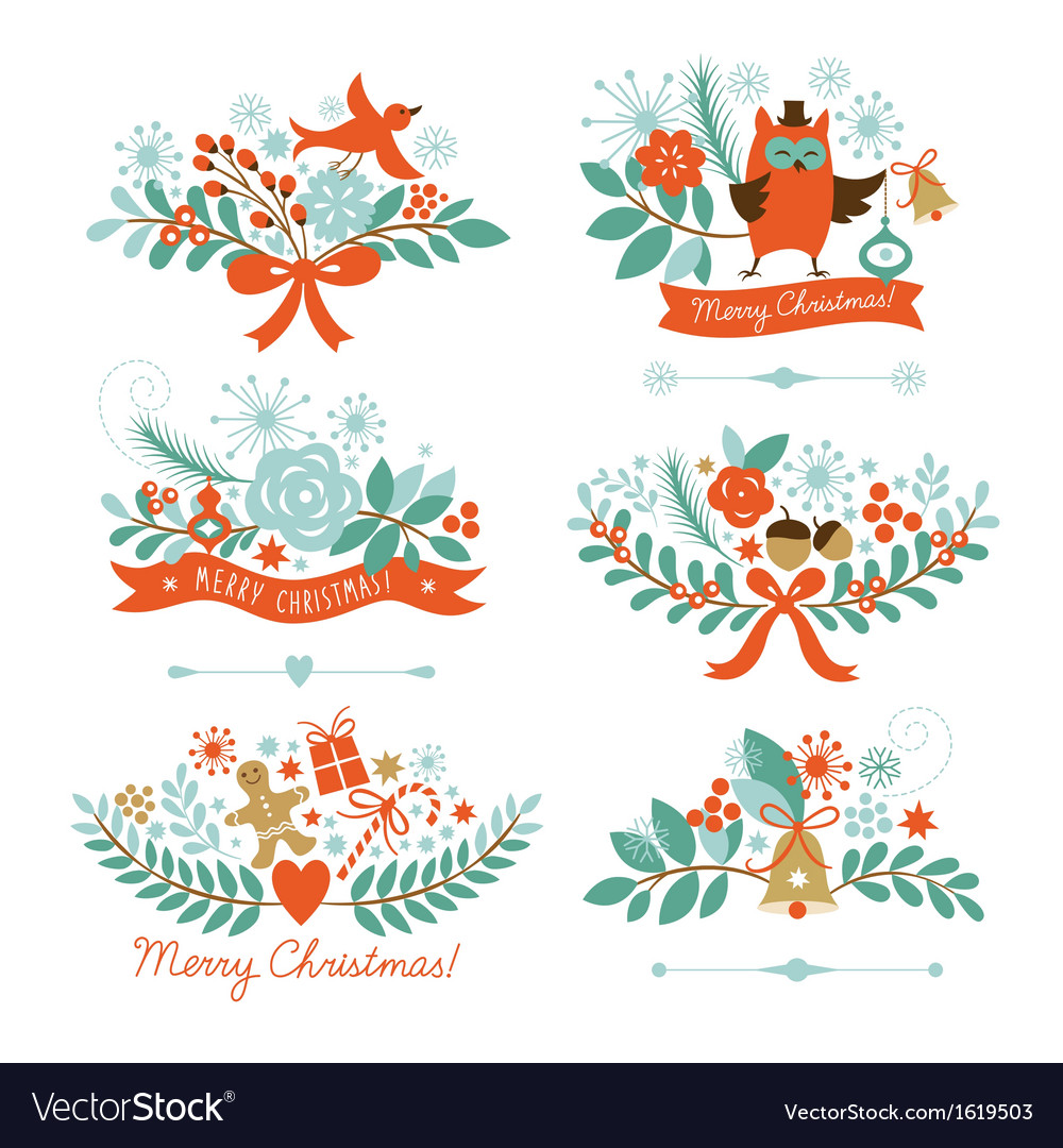 Set of christmas graphic elements vector | Price: 3 Credit (USD $3)