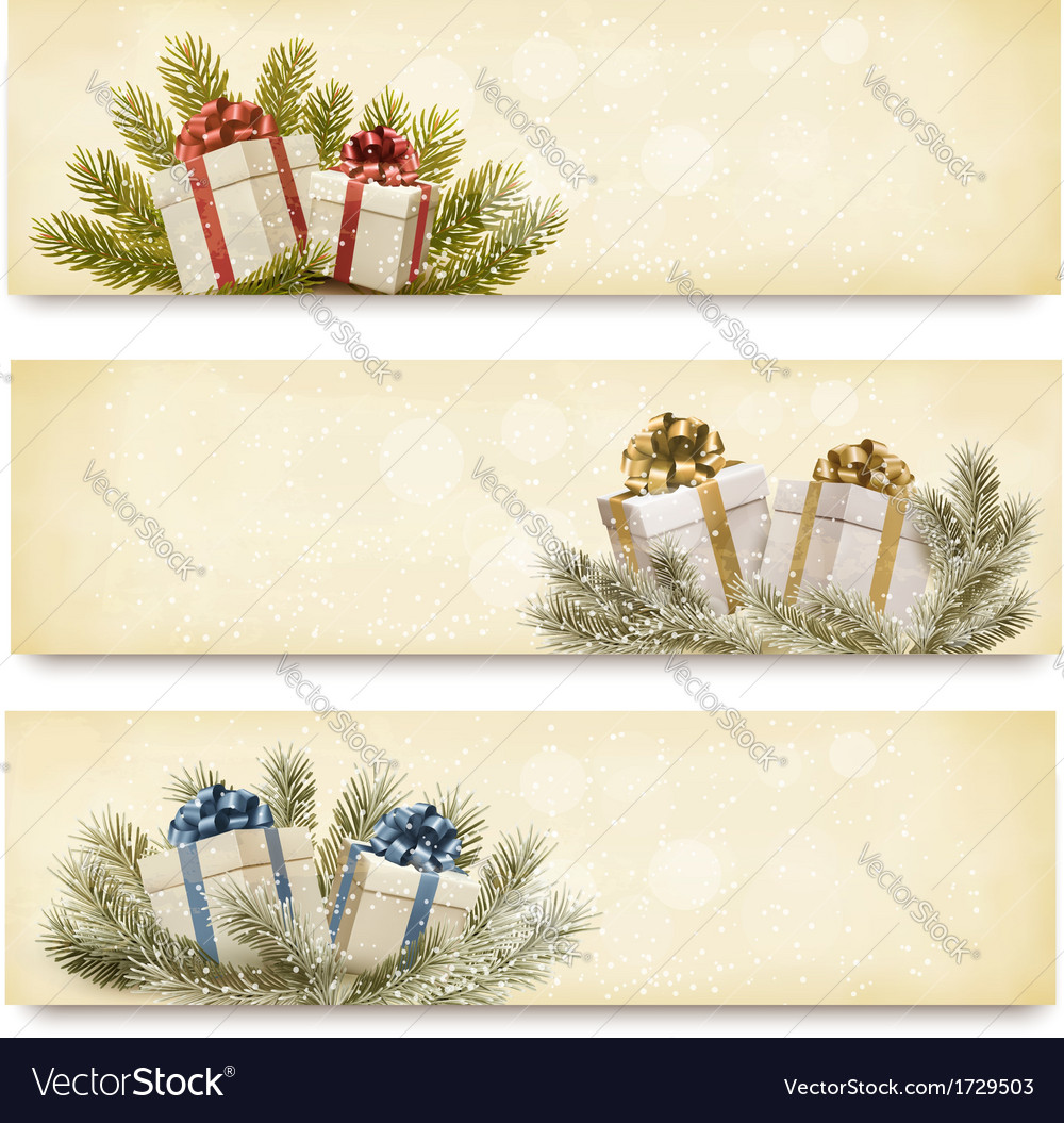 Three christmas banners with gift boxes and vector | Price: 1 Credit (USD $1)
