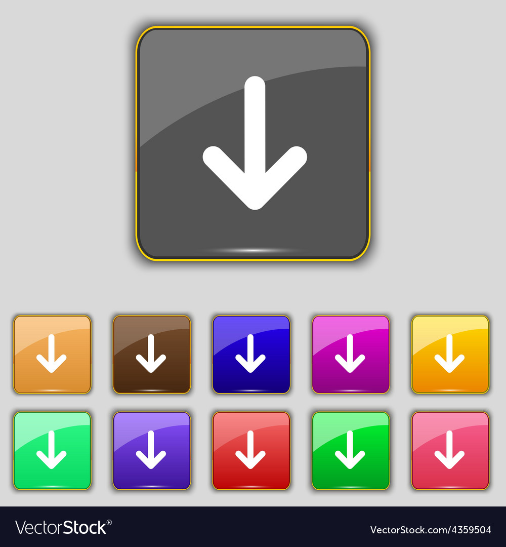 Arrow down download load backup icon sign set with vector | Price: 1 Credit (USD $1)