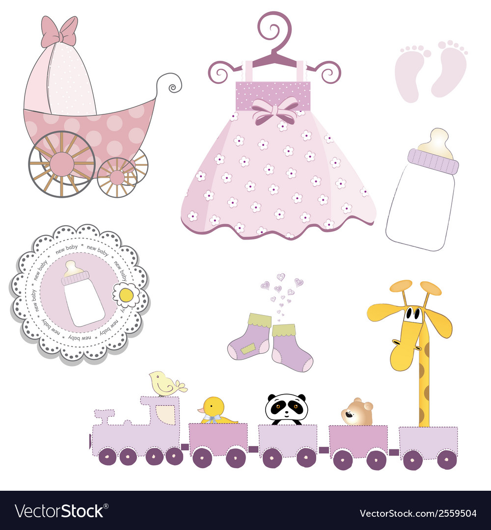 Baby girl items set isolated on white background vector | Price: 1 Credit (USD $1)