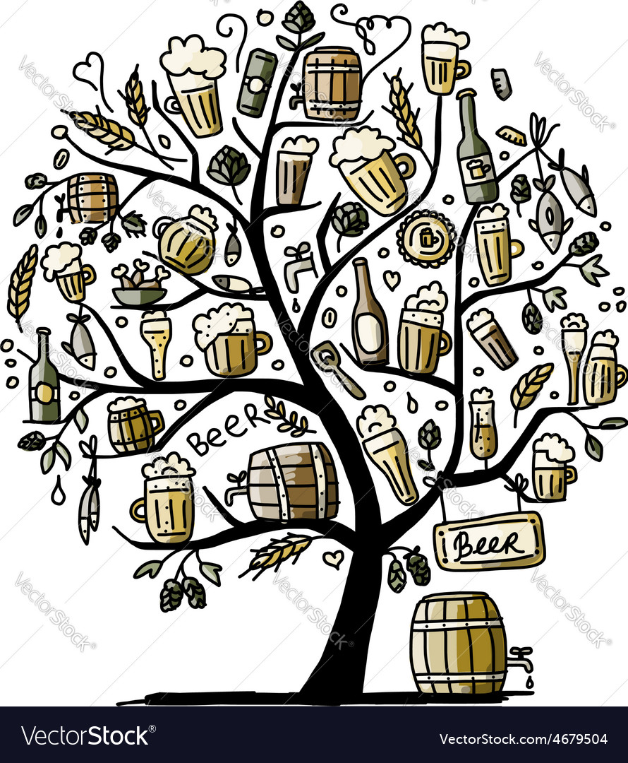 Beer tree sketch for your design vector | Price: 1 Credit (USD $1)