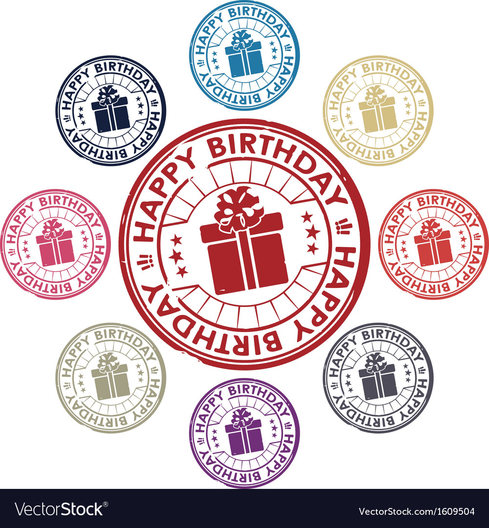 Birthday stamp vector | Price: 1 Credit (USD $1)