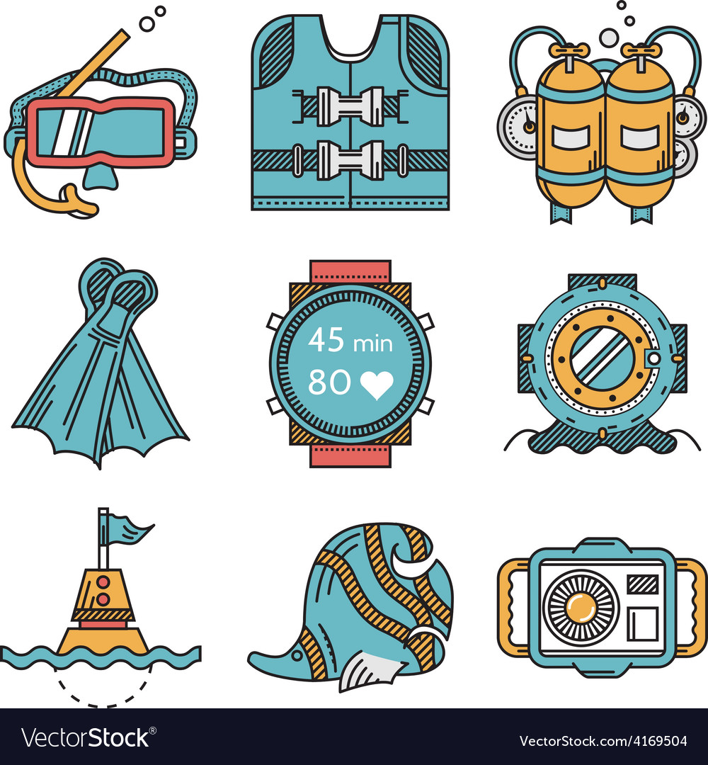 Diving icons flat design collection vector | Price: 1 Credit (USD $1)
