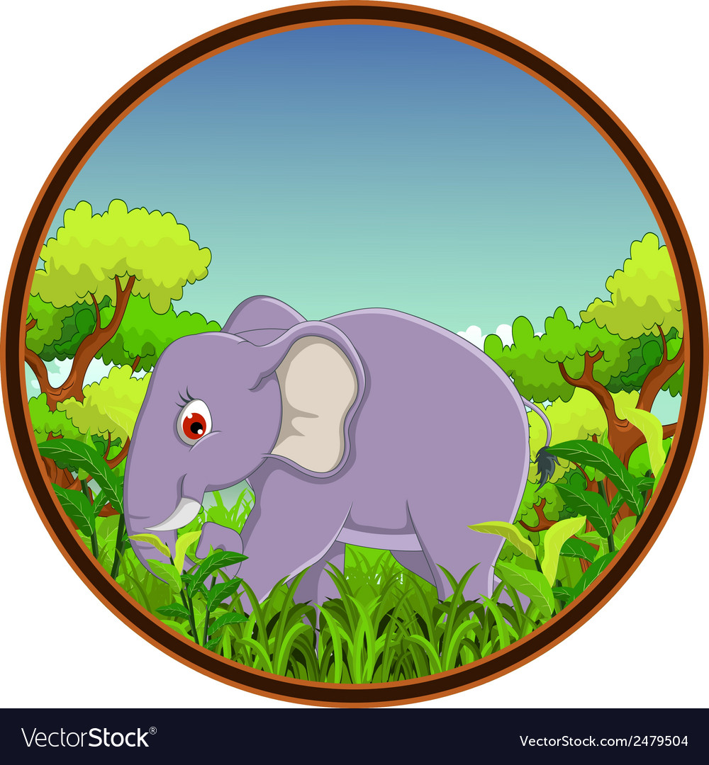 Elephant with forest background vector | Price: 1 Credit (USD $1)