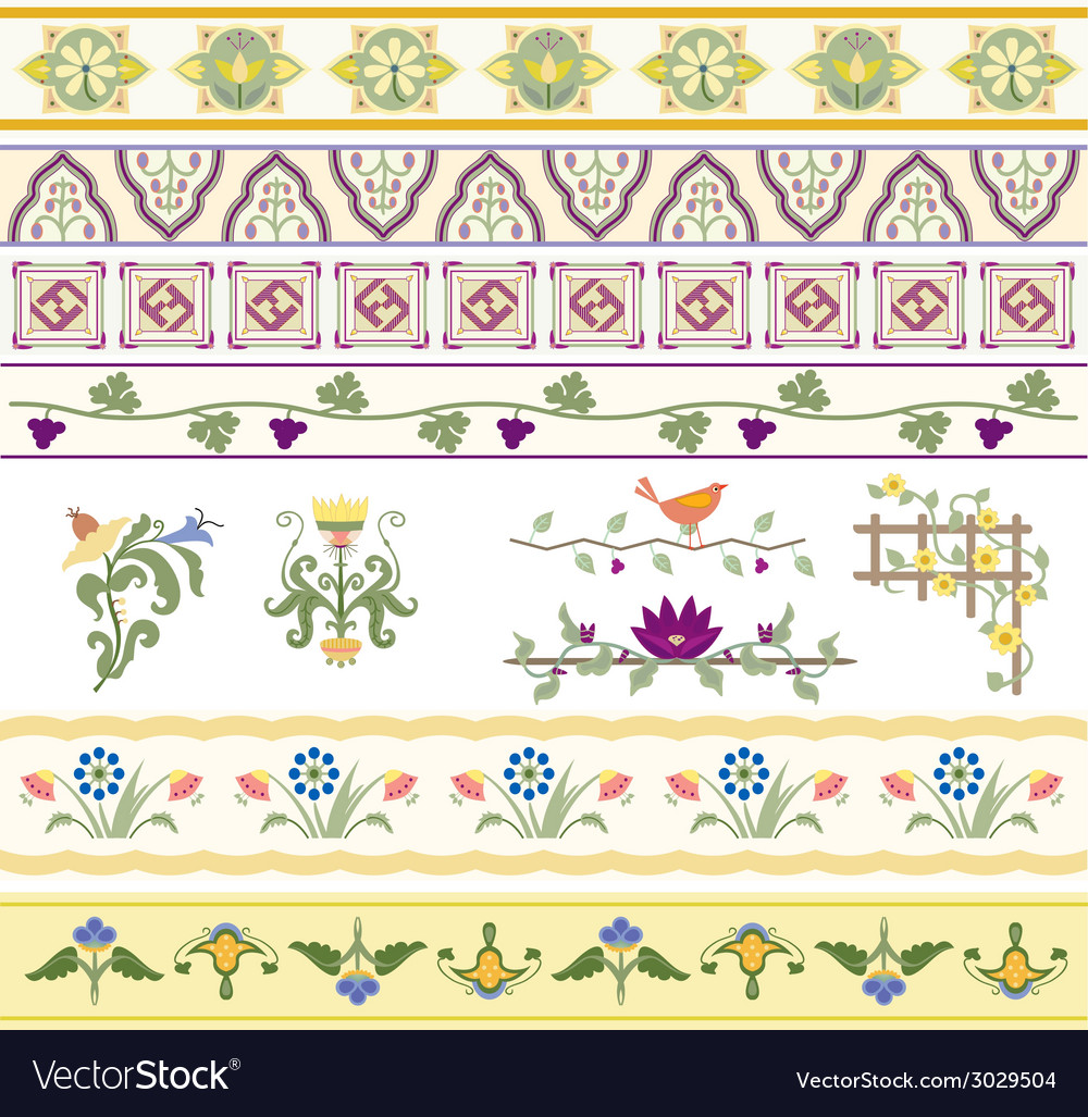 Floral dividers borders and trim vector | Price: 1 Credit (USD $1)