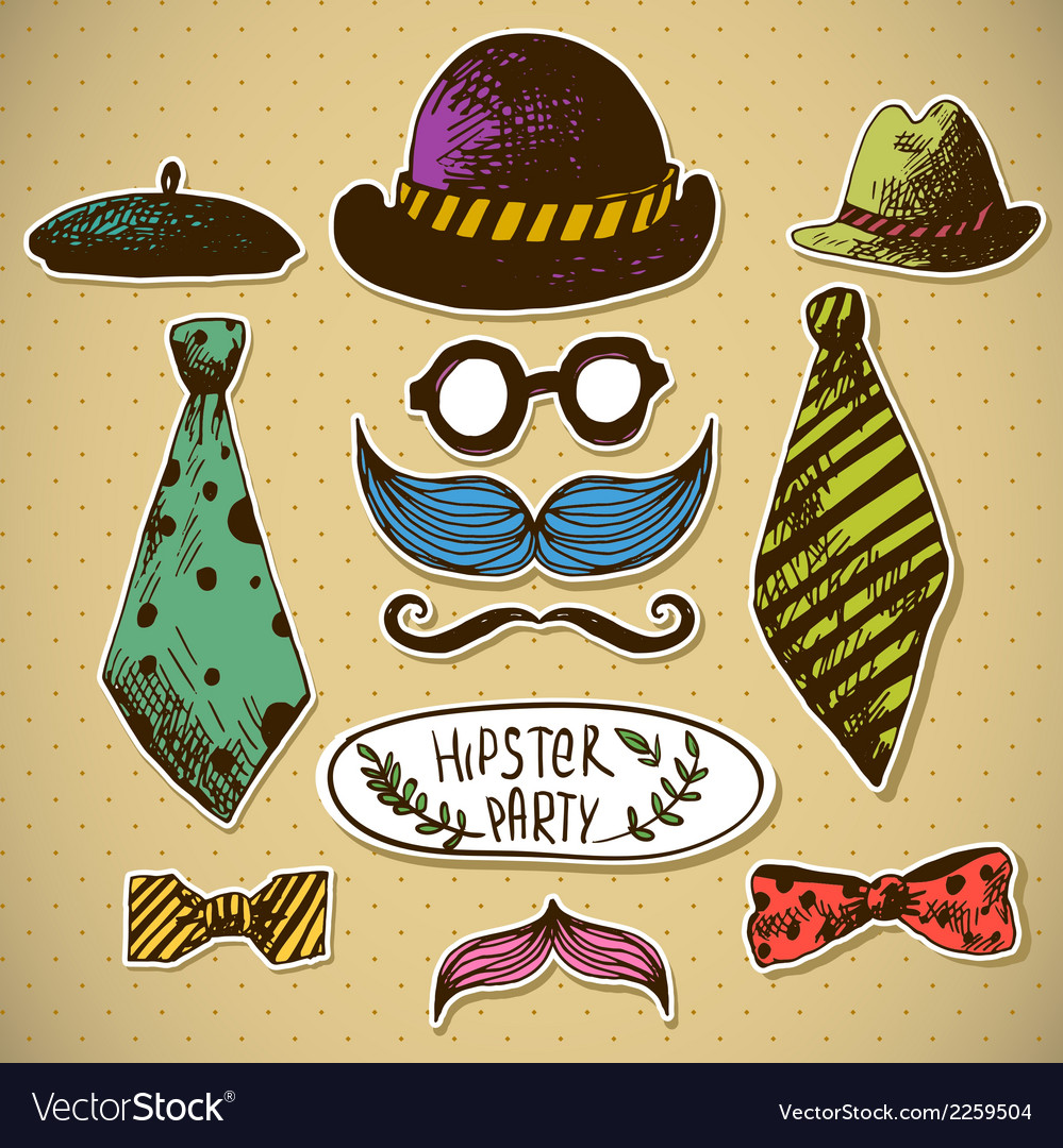 Hand drawn hipster design elements vector | Price: 1 Credit (USD $1)